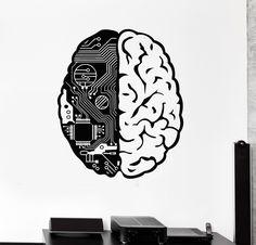 Brain Chip Engineer Compute Geek Artificial Vinyl Decal Sticker Wall Decor Home Interior Design Art Mural x Price history. Tatoo Geek, Tatoo Art, Wall Decor Stickers, Vinyl Wall Decals, Computer Tattoo, Brain Logo, Posca Art, Mural Art, Artificial Intelligence