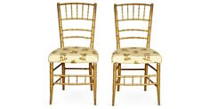 Gilt Faux-Bamboo Chairs, Pair · Vintage