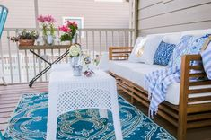 This screened in porch is amazing and has so many inexpensive decor finds and inspiration for creating an inviting outdoor room this summer! Outdoor Rooms, Outdoor Furniture Sets, Outdoor Decor, Porch Makeover, Screened In Porch, New Builds, My House, Porch Ideas, Kids Rugs