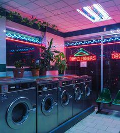 Neon lights laundromat at night sci fi aesthetic Neon Aesthetic, Aesthetic Photo, Aesthetic Pictures, Night Aesthetic, Urban Aesthetic, Violet Aesthetic, Devil Aesthetic, Gothic Aesthetic, Music Aesthetic