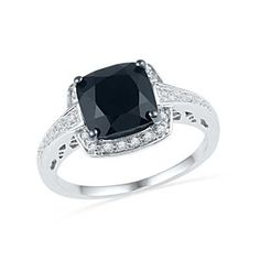 7.0mm Cushion-Cut Faceted Onyx and Diamond Accent Engagement Ring in Sterling Silver - Zales