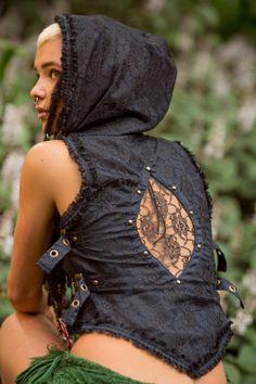 Maya Vest Black Boho Gypsy Hoodie Festival Tribal by AryaClothing