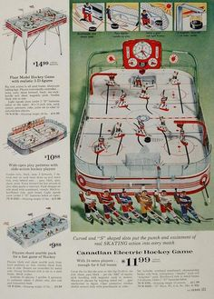 This thing looks Fricken SWEET!   Ad  for Canadian Electric Hockey game from 1963
