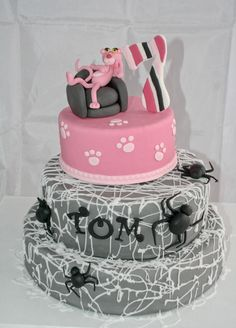 cake pink panther and spider by Christel kiki