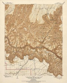 Antique Map of the Grand Canyon (1903) - 16x20 -  Vintage USGS Topographic Map - Archival Reproduction