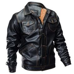 a48e0522e4b8 Men Military Thick Warm Multi-Pocket Leather Bomber Jacket – Fomoloo