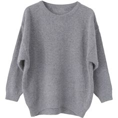 Asymmetric-hem Batwing-sleeves Loose Knit Sweater ($28) ❤ liked on Polyvore featuring tops, sweaters, shirts, jumpers, knit sweater, knit shirt, knit tops, knit jumper and loose knit top