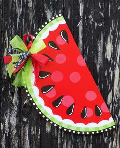 Hand Painted Watermelon Door Hanger by KJsKutOuts on Etsy