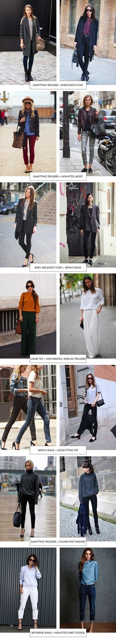 Proportions Catalogue: Trousers- slim & chunky knit sweater, slim & loose fitting top