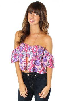 Off Shoulder Print Crop Pink $22.99 #sophieandtrey #tops #offtheshoulder #cropped #croptops #printed