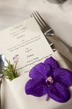 Orchid on a wedding place setting