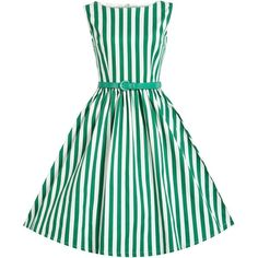 'Audrey' Green Stripe Swing Dress (€48) ❤ liked on Polyvore featuring dresses, green, skater skirt, green circle skirt, striped dress, green swing dress and green striped dress