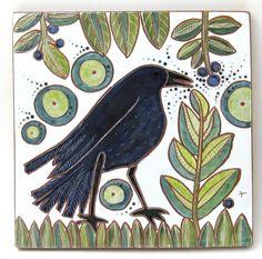 hand carved ceramic art tile blueberry picker by crowfootstudio Tile Art, Mosaic Art, Raven Bird, Handmade Tiles, Sgraffito, Mark Making, Ceramic Art, Hand Carved, Carving