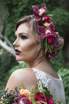 Plum orchid flower crown wedding hair | Taylor Mitchell Photography