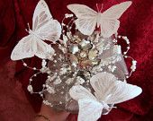 Stunning White Butterfly Wedding  Brooch Bouquet