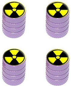 "Amazon.com : (4 Count) Cool and Custom ""Diamond Etching Radioactive Symbol Top with Easy Grip Texture"" Tire Wheel Rim Air Valve Stem Dust Cap Seal Made of Genuine Anodized Aluminum Metal {Purple and Yellow Colors} : Sports & Outdoors"