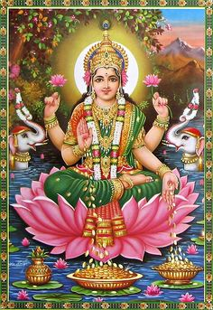 Lakshmi is the mother goddess, and the consort of Vishnu. She is the patron of wealth (both material and spiritual), prosperity, good fortune and is the embodiment of beauty and grace. In this form, she is bestowing gold coins of prosperity and the elephants flanking her represent her royal power.