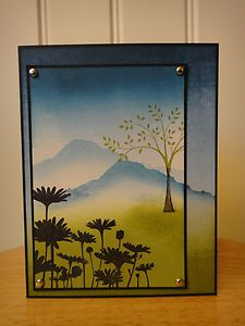 Loved effects of sponged grasses and mountains. Stamp sets Upsy Daisy and tree from Thoughts & Prayers