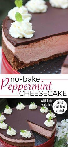 No-Bake Peppermint Cheesecake {Real Food, Paleo, Primal, Keto variation, Gluten-free, Probiotics! Sooooo yummy!!!}