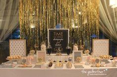 40 cumpleaños, fiesta 40 cumpleaños, mesa dulce blanco negro y dorado