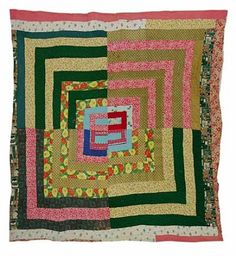 "ORIGINAL GEE'S BEND QUILTS DELIA BENNETT ""HOUSETOP"" FRACTURED MEDALLION VARIATION CIRCA 1955. ORIGINAL."
