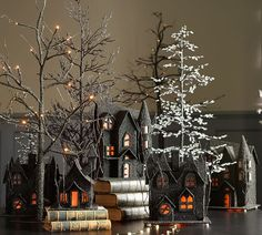 Set a spooky scene with Halloween decorations from Pottery Barn. Shop for faux pumpkins, skeletons and Halloween lights and set the stage for a scary Halloween party. Halloween Village Display, Halloween Trees, Halloween Home Decor, Halloween House, Holidays Halloween, Halloween Crafts, Halloween Decorations, Halloween 2015, Spooky Trees