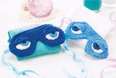 Eye masks ~ inspired by Breakfast at Tiffany's ~ get a good night's sleep with your new mask ~ FREE CROCHET pattern ~ look how cute you will look when hubby/boyfriend sees you in the morning ~ FREE CROCHET pattern