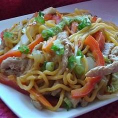 Sweet and Spicy Pork and Napa Cabbage Stir-Fry with Spicy Noodles Recipe/Great for left over pork, sub spaghetti or rice, add green beans or peas, watch amount of sweet chili sauce, can use chicken Cabbage Recipes, Pork Recipes, Asian Recipes, Cooking Recipes, Asian Foods, Oriental Recipes, Carrot Recipes, Fun Recipes, Pork