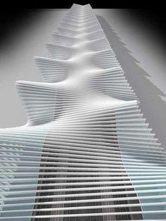 Santiago Calatrava – Reggio Emilia Station  the slight angle change of the steel gives an amazing wave affect
