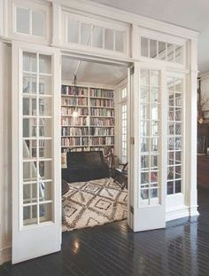 home home design home library home library room glass doors glass walls home architecture Style At Home, Roman And Williams, Library Room, Library Ideas, Cozy Library, Dream Library, Future Library, Library In Home, Home Library Design