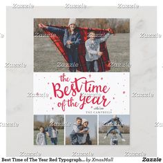 Best Time of The Year Red Typography Photo Collage Holiday Postcard Holiday Greeting Cards, Holiday Postcards, Holiday Photos, Christmas Holidays, Christmas Cards, Modern Typography, Time Of The Year, Postcard Size, Collage