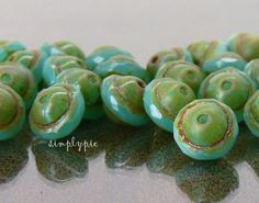 29 CENTS EACH ~ $2.90 FOR 10 (10x8mm) ~~ JADE OPAL Picasso Flying Saucer Saturn Czech Glass ~~ simplypie