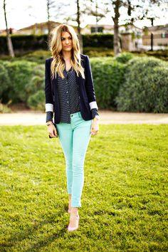 Blazer + Mint skinnies + polka dot blouse via A Little Dash of Darling: Pastel Prep
