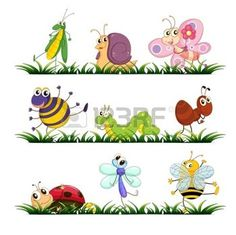 Illustration of Illustration of mixed bugs on grass vector art, clipart and stock vectors. Art Clipart, Insect Clipart, Bug Cartoon, Cartoon Drawings, Cute Drawings, Bugs, Inkscape Tutorials, Images Kawaii, Illustration Art