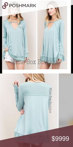 🆕🔹Sage Cutout Tunic Sage Tone Tunic. Beautiful! Cutout detail front with enclosure. Absolutely gorgeous boho fit. Fabric is so soft yet lightweight. Tops Tunics