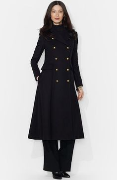 Free shipping and returns on Lauren Ralph Lauren Wool Blend Military Maxi Coat at Nordstrom.com. Cut a dashing figure in this long fit-and-flare coat crafted from a warm wool blend infused with soft cashmere. The double-breasted style exudes military polish with gleaming regimental buttons that also secure the back half-belt.
