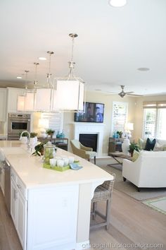 A Thoughtful Place: Friday Eye Candy: Light & Bright Home Tour Open Concept Kitchen, Open Plan Kitchen, New Kitchen, Kitchen Ideas, Kitchen Dining Living, New Living Room, Living Area, Wicker Bar Stools, Living Room Furniture Layout