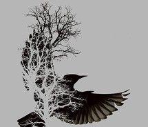 Gorgeous bird tree tattoo idea. But with a sparrow shadow