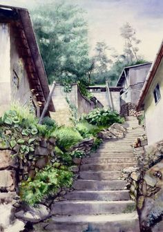 Spanish Cats Names - Tabby Cats Painting - - Two Cats Drawing Watercolor Architecture, Watercolor Landscape Paintings, Watercolour Painting, Painting & Drawing, Cat Sketch, Environment Concept Art, Urban Sketching, Photo Backgrounds, Art Boards