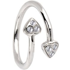 Toe Rings 2Hearts Womens 14K White Gold Plated .925 Sterling Silver Princess Crown Adjustable Toe Ring