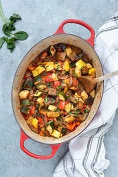 Ratatouille is a classic French vegetable stew that's packed with tender, chunky vegetables, fresh basil and loads of flavor. It's a healthy recipe that makes a great low carb meal or side dish, and it's perfect for meal prep! #ratatouille #glutenfree #veganrecipes Low Carb Recipes, Whole Food Recipes, Vegan Recipes, Vegetable Stew, Vegetable Recipes, Easy Ratatouille Recipes, Veggie Wraps, Sandwiches For Lunch, Healthy Comfort Food