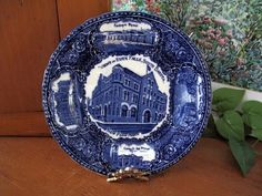 Antique Flow Blue Views of Sioux Falls, South Dakota Collector's Plate SOLD