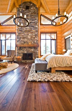 Okanagan Log Home bedroom.