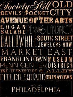 Philadelphia neighborhoods typography graphic art by geministudio