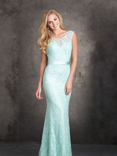 Allure Bridesmaids STYLE: 1405 Delicate sequined lace overlay is finished with a satin ribbon at the waist. Color will vary with each fabric type and Allure Bridals does not guarantee the dye lot when different fabrics are combined