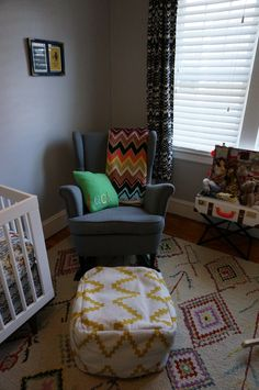 "Ikea ""hack"" Strandmon Wingback rocking chair and Target Threshold pouf"