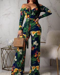 Adogirl Floral Tropical Print Ruffle Off Shoulder Loose Jumpsuit Women Sexy V Neck Long Sleeve Casual Romper with Belt Playsuits Long Jumpsuits, Jumpsuits For Women, Playsuits, Look Fashion, Fashion Outfits, Green One Piece, Long Sleeve Romper, Overall, Colourful Outfits