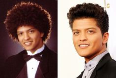 Bruno Mars (Peter Hernandez), Senior Yearbook Photo, 2003. Luckily for Bruno, his talents could even outshine his glorious afro from his senior yearbook photo at the President Theodore Roosevelt High School in Honolulu. Bruno is nominated for Top Male Artist alongside Chris Brown, Drake, Justin Bieber, and Lil Wayne.