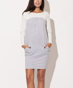 This Gray & White Color Block Shift Dress by Katrus is perfect! #zulilyfinds