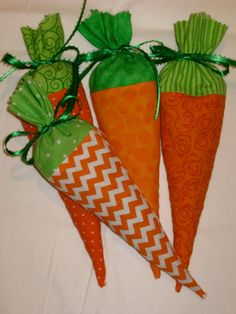 Easter Fabric Carrots - Jelly Bean Bag - Treat Bags - Set of 4 Orange & Green Carrot Shaped Bags - Horse Party - Peter Rabbit Shower - RTS